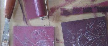 Atelier linogravure avec Christophe Ecobichon Rennes