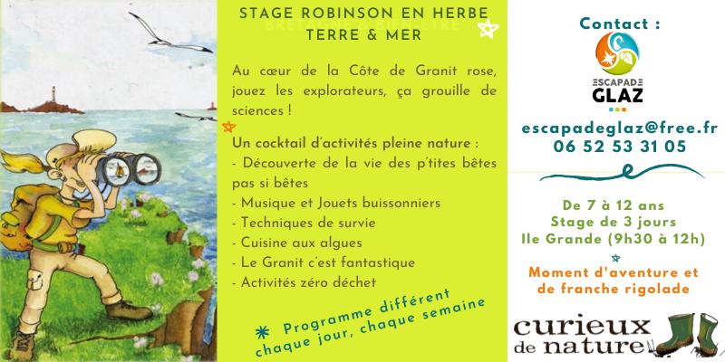 Stage robinson en herbe - bretagne terre et mer
